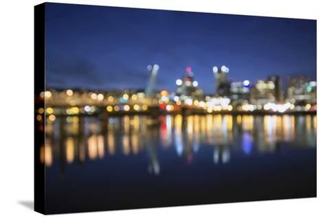 Out of Focus Portland City Skyline at Blue Hour-jpldesigns-Stretched Canvas Print