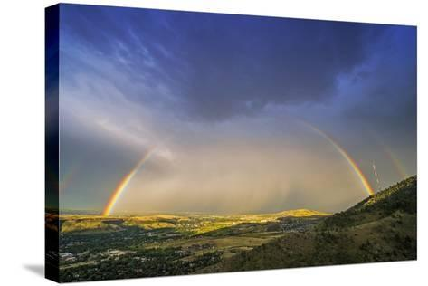 Rainbow over Denver-duallogic-Stretched Canvas Print