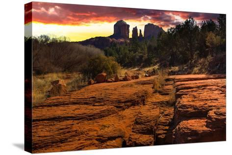 Sunset Image of Cathedral Rock.-diro-Stretched Canvas Print