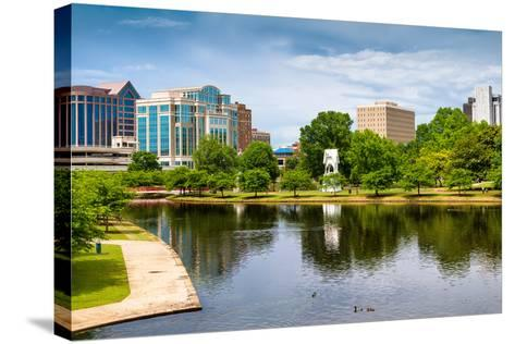 Cityscape Scene of Downtown Huntsville Alabama from Big Spring Park-Rob Hainer-Stretched Canvas Print