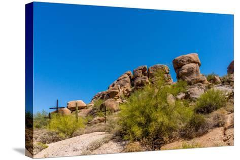 Three Crosses on a Hillside in the Arizona Desert-hpbfotos-Stretched Canvas Print