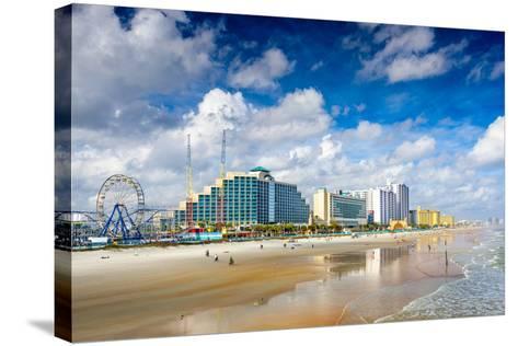 Daytona Beach, Florida, USA Beachfront Skyline.-SeanPavonePhoto-Stretched Canvas Print