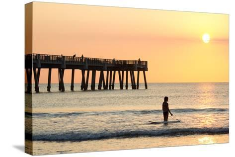 Early Morning at the Pier in Jacksonville Beach, Florida.-RobWilson-Stretched Canvas Print