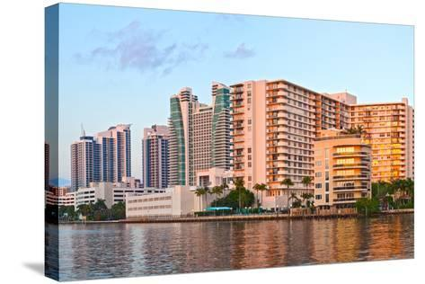 Hollywood Beach Florida at Sunset-Fotomak-Stretched Canvas Print