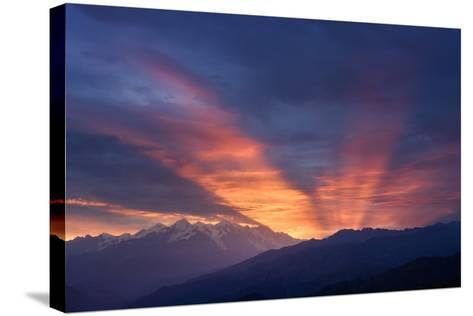Mountain Landscape at Dawn. Beautiful Sky with Sunbeams and Clouds. View from Mount Mkheer. Zemo Sv-Kotenko-Stretched Canvas Print