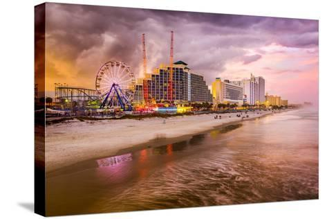 Daytona Beach, Florida, USA Beachfront Skyline.-SeanPavonePhoto-Stretched Canvas Print