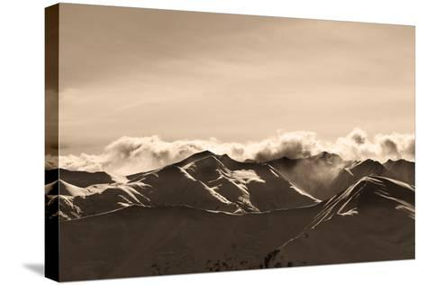 Sepia Evening Winter Mountains and Sunlight Clouds-BSANI-Stretched Canvas Print