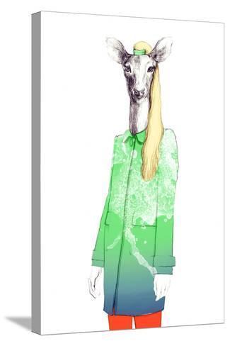 Fashion Animal .Watercolor Illustration-Anna Ismagilova-Stretched Canvas Print