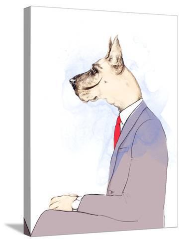 Business Dog . Fashion Animal Watercolor Illustration-Anna Ismagilova-Stretched Canvas Print
