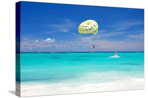 Beautiful Caribbean Beach in Dominican Republic. Unrecognizable People.-haveseen-Stretched Canvas Print