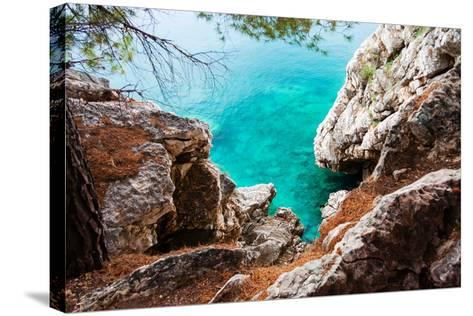 Blue Sea and Rocks-Lamarinx-Stretched Canvas Print