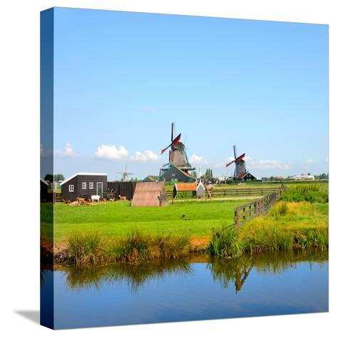 Windmill Amsterdam-Graphicstockphoto-Stretched Canvas Print