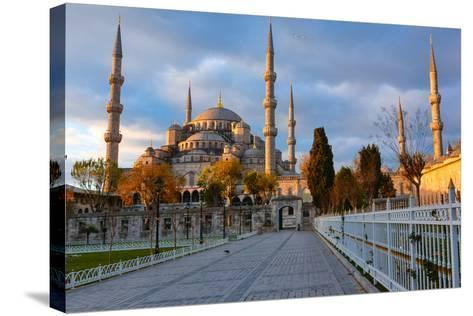 Blue Mosque, Istambul into Sunrise Lights-David Ionut-Stretched Canvas Print