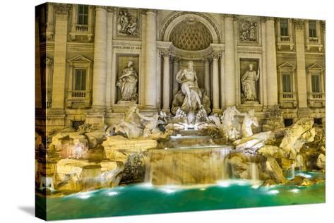 Neptune Statue of the Trevi Fountain in Rome Italy-David Ionut-Stretched Canvas Print