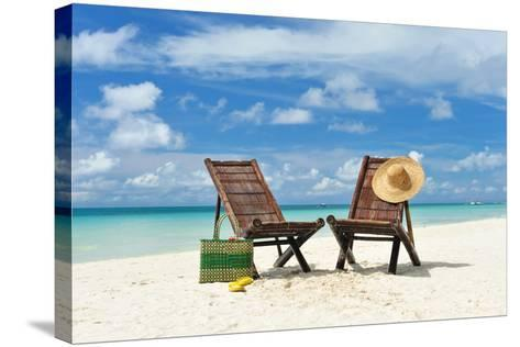 Beautiful Beach with Chaise Lounge-haveseen-Stretched Canvas Print