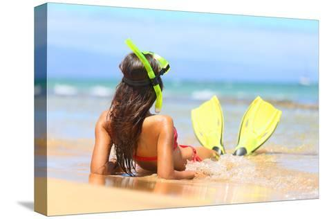 Woman Relaxing on Summer Beach Vacation Holidays Lying in Sand with Snorkeling Mask and Fins Smilin-Maridav-Stretched Canvas Print