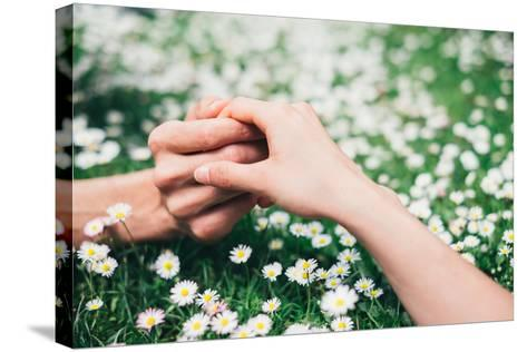 Lovers Holding Hands on Spring Flowers Field-Dirima-Stretched Canvas Print