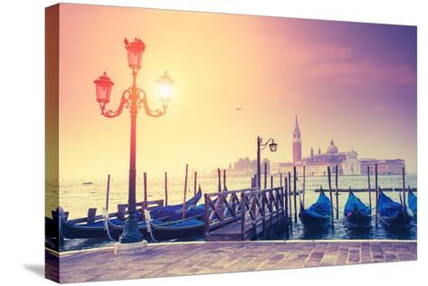 Amazing View of Grand Canal at Sunset with San Giorgio Maggiore Church. San Marco, Venice, Italy, E-Leonid Tit-Stretched Canvas Print