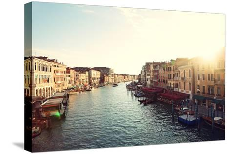 Grand Canal, Venice, Italy, Called Canal Grande in Italian, as Seen from Rialto Bridge. Beautiful V-Maridav-Stretched Canvas Print
