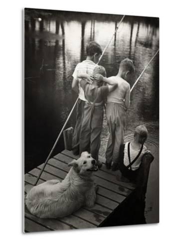 Dogs Supervising Fishing Boys--Metal Print