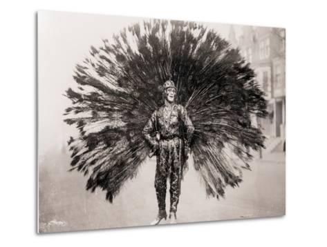 Man in Peacock Costume--Metal Print