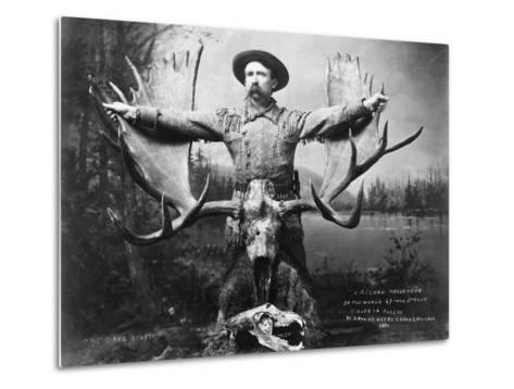 Hunter with Record Moose Antlers--Metal Print
