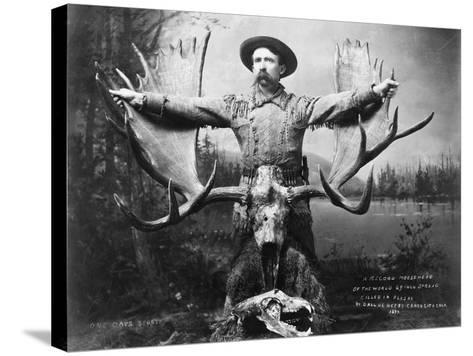 Hunter with Record Moose Antlers--Stretched Canvas Print