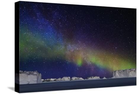 Aurora Borealis or Northern Lights over Icebergs-Arctic-Images-Stretched Canvas Print
