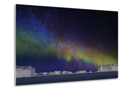 Aurora Borealis or Northern Lights over Icebergs-Arctic-Images-Metal Print