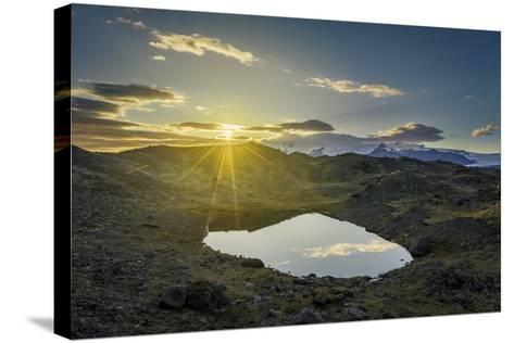 Sunset over Lava and Moss Landscape, Svinafellsjokull Glacier, Iceland-Arctic-Images-Stretched Canvas Print