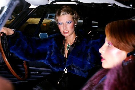 Model, Sitting in the Driver's Seat of a Car, Wearing a Blue-Dyed Chinchilla Short Blouson-Kourken Pakchanian-Stretched Canvas Print