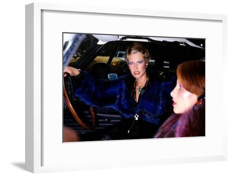 Model, Sitting in the Driver's Seat of a Car, Wearing a Blue-Dyed Chinchilla Short Blouson-Kourken Pakchanian-Framed Art Print