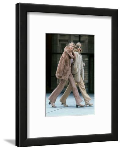 Two Models Walking in Front of the Seagrams Building in New York City-Kourken Pakchanian-Framed Art Print