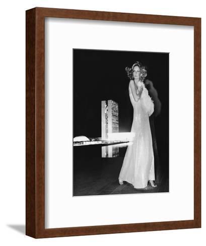 Model Cheryl Tiegs, Standing before the Towers of Congress-Kourken Pakchanian-Framed Art Print