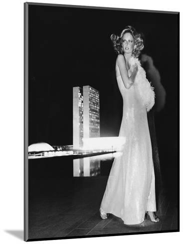 Model Cheryl Tiegs, Standing before the Towers of Congress-Kourken Pakchanian-Mounted Premium Giclee Print