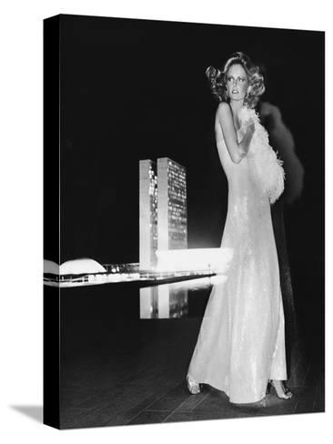 Model Cheryl Tiegs, Standing before the Towers of Congress-Kourken Pakchanian-Stretched Canvas Print