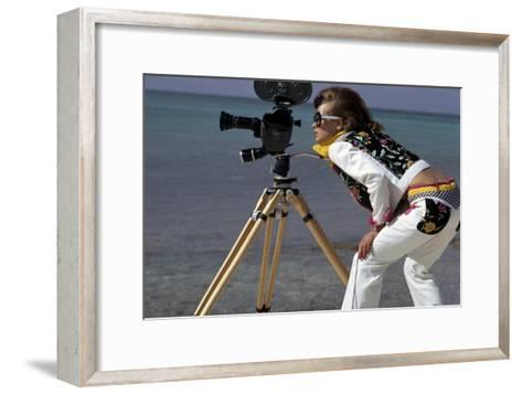 Model, in a Short White Jacket and Matching White Pants with Bright Floral Print-Gianni Penati-Framed Art Print