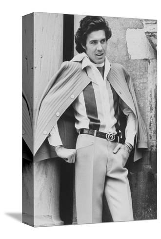 Male Model Wearing Silk Shirt and Wool Crepe Trousers-Henry Clarke-Stretched Canvas Print