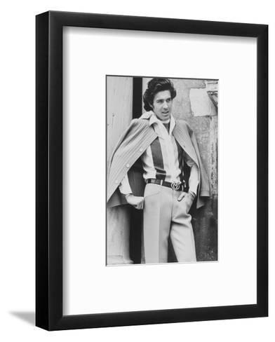 Male Model Wearing Silk Shirt and Wool Crepe Trousers-Henry Clarke-Framed Art Print