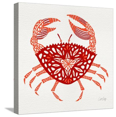 Crab in Red-Cat Coquillette-Stretched Canvas Print