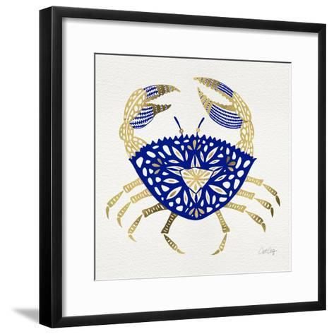 Crab in Navy and Gold-Cat Coquillette-Framed Art Print