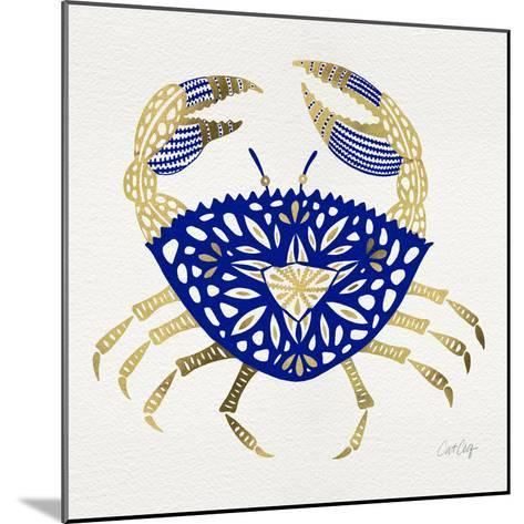 Crab in Navy and Gold-Cat Coquillette-Mounted Giclee Print