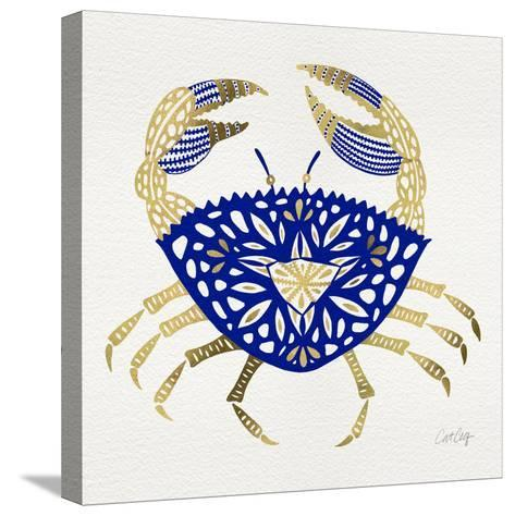 Crab in Navy and Gold-Cat Coquillette-Stretched Canvas Print
