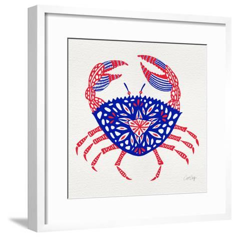 Crab in Red and Navy-Cat Coquillette-Framed Art Print