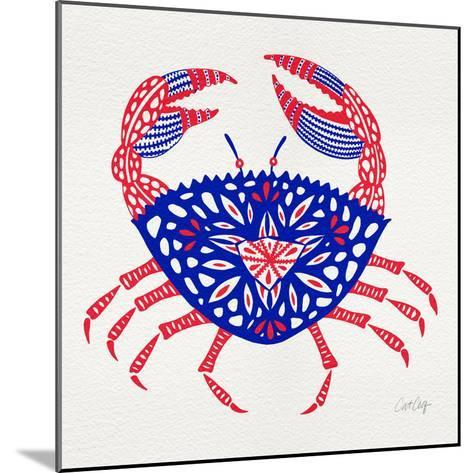 Crab in Red and Navy-Cat Coquillette-Mounted Giclee Print