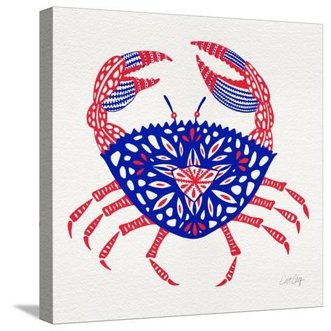 Crab in Red and Navy-Cat Coquillette-Stretched Canvas Print