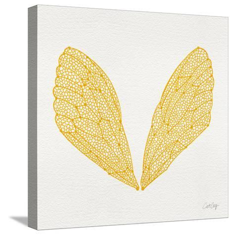 Cicada Wings in Yellow Ink-Cat Coquillette-Stretched Canvas Print
