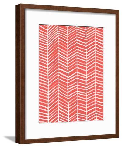 Herringbone - Coral-Cat Coquillette-Framed Art Print