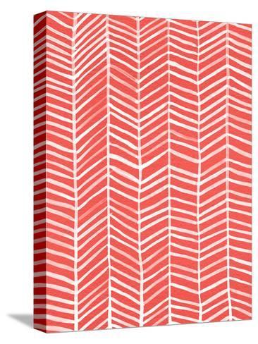 Herringbone - Coral-Cat Coquillette-Stretched Canvas Print