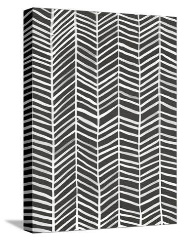 Herringbone - Black-Cat Coquillette-Stretched Canvas Print